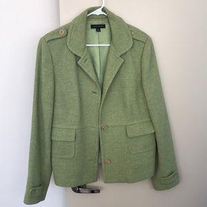 Green wool blend blazer. Great for Spring!